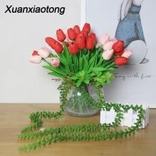 Xuanxiaotong 5pcs/lot Tulip Artificial Flowers Bride Bouquet PU Calla para decora for Home Wedding Decorative