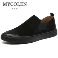 MYCOLEN New Arrival Fashion Shoes For Men All Black Canvas Shoes Men's Brand Casual Male Shoes Sapato Masculino Social