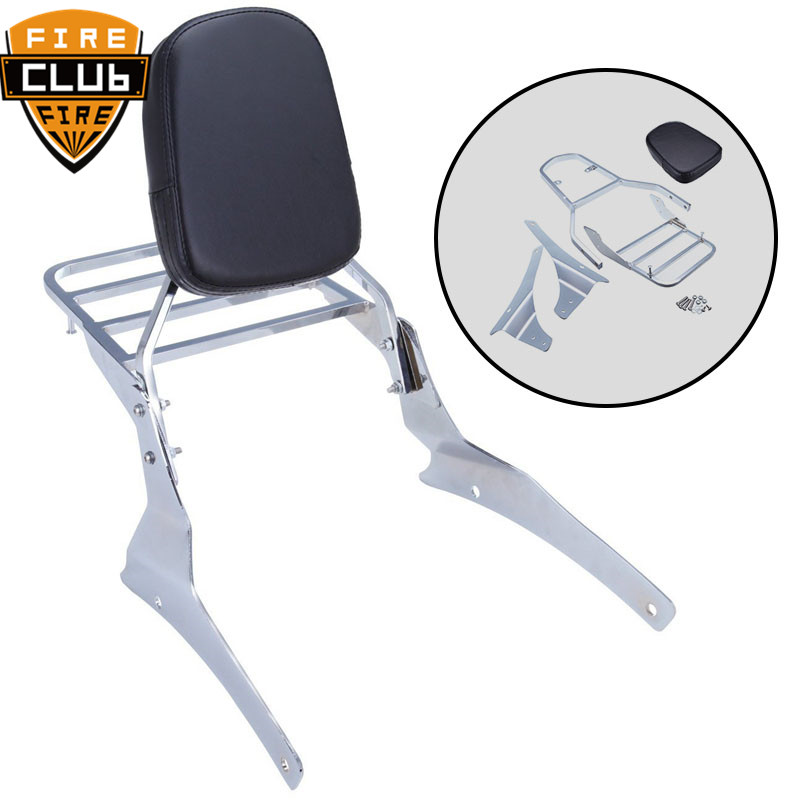 Motorcycle Sissy Bar Backrest Passenger With Luggage Rack For Suzuki Volusia Vl800 Vl400 2001-2004 Boulevard C50 2005-2011