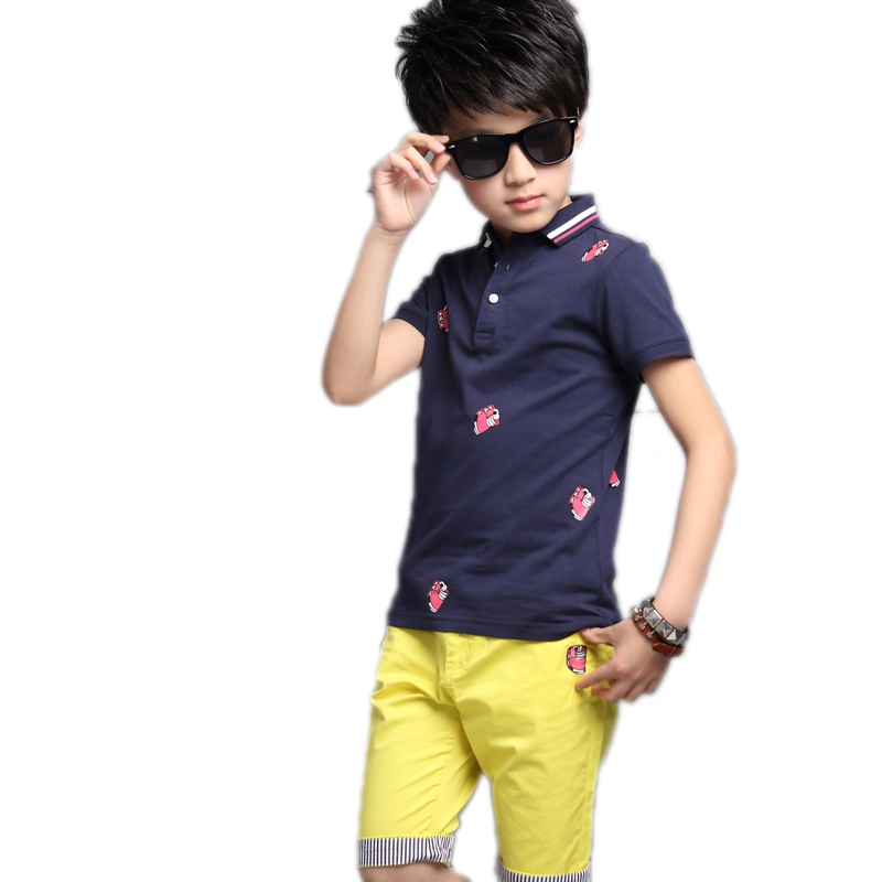 Boy summer clothes 2017 new fashion toddler boy clothing set kids cartoon printed polo shirt+pants 2pcs kids boys sports suit