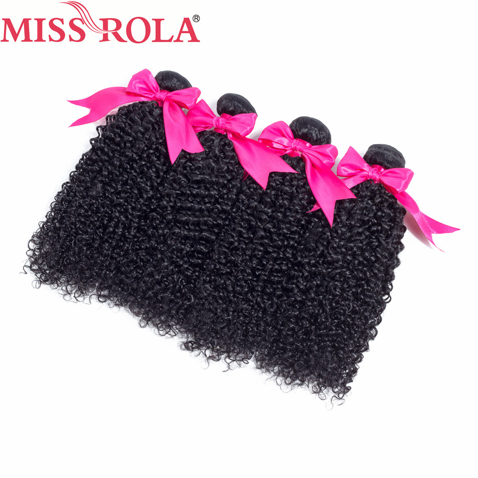 Miss Rola Hair Pre-colored Peruvian Curly Human Hair Bundles Non Remy Hair Weaves Natural Black Color 4PC Can Be Mixed Free Shi