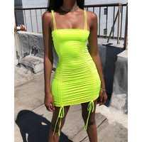 Women Sexy Double Spaghetti Strap Stretch Lace Up Bandage Fluorescent Bodycon Mini Dress Summer