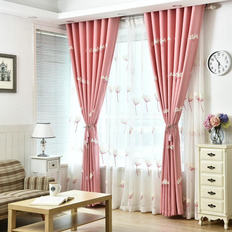 3D Embroidered Luxury Linen Curtain for Living Room Blackout Curtain ...