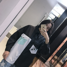 Fashion transient patchwork black and white letter print single breasted polo low-high placketing long-sleeve shirt bf