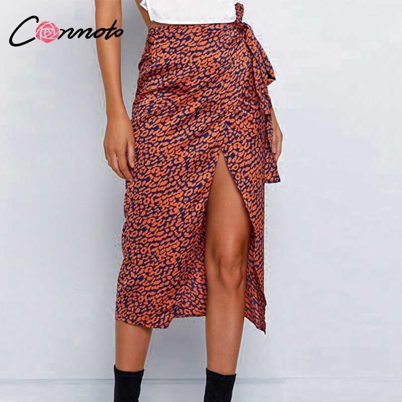 ebb69a68ca382a Conmoto Wrap Bow Satin Midi Skirt Women Split Sexy Leopard Print High Waist  Skirts High Fashion
