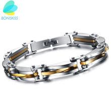 Мужской двухцветный браслет boniskiss из нержавеющей стали 316l