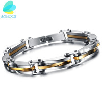 22 0 9cm Punk Style 316L Stainless Steel Two Tone Mens Bracelet Link Chain Biker Bicycle