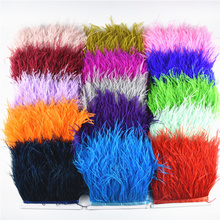 5Meters/10Meters Ostrich Feather Trims 10-15CM Skirt/dress White Black Feathers for Crafts Plumage Clothing Trim
