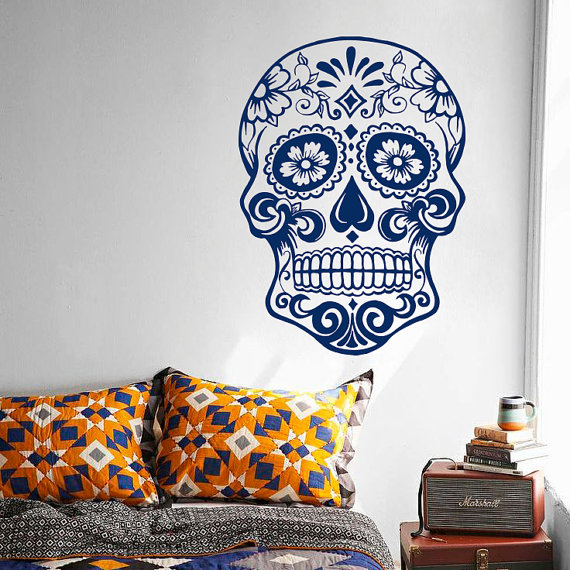 Skull head with flowers floral vinyl decal sticker home decor bedroom living room murals sugar head