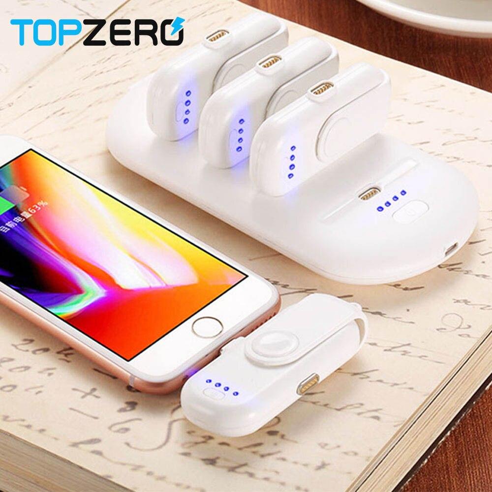 TOPZERO Portable 4 mini batterie externe charge rapide magnétique pour iPhone Samsung Micro Type C chargeur de téléphone Portable