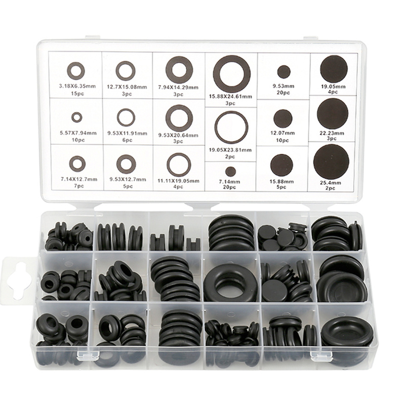 125pcs Black Rubber Grommets Set O-ring Plug Wire Ring Assortment Electrical Wire Gasket Tool Blanking Open Closed Blind Grommet