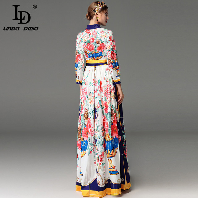 Runway Autumn Maxi Dress Long Sleeve Bow Belted Floral Print Elegant Long Dress Plus Size
