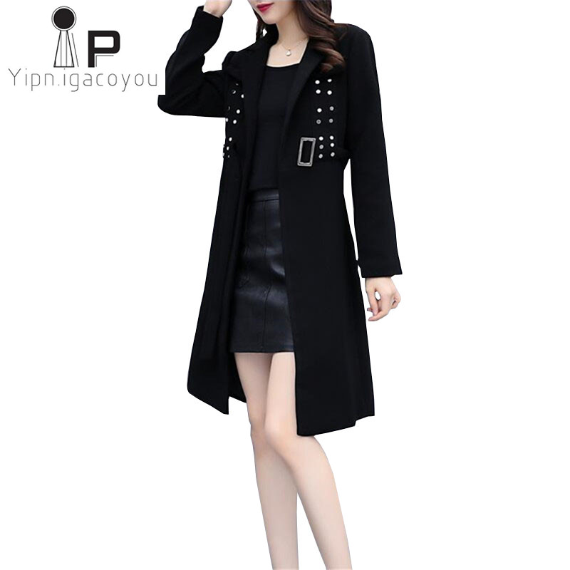 aab8ca35187 Black Trench Coat Women Long Windbreaker Autumn Korean Fashion Plus size  Rivet Sashes White Overcoat Fall Elegant Women Outwear