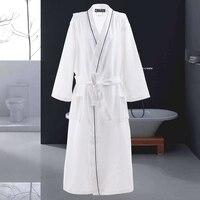 ZDFURS* Waffle Cotton Bathrobe Men Long sleeve Mens Robe Sweat Evaporate Couples Kimono Bath Robes Hotel SPA Robes Dressing Gown