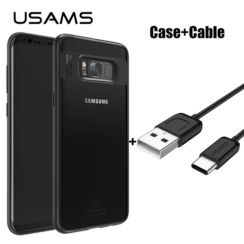For Samsung Galaxy S8 Case USAMS Full Protective TPU & Acrylic Transparent Back Cover for Galaxy S8 Plus Case With Type C Cable