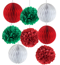 8pcs Christmas Decorations Red/Green/White Tissue Paper Honeycomb Balls Pom Poms Set ChristmasTree Ball