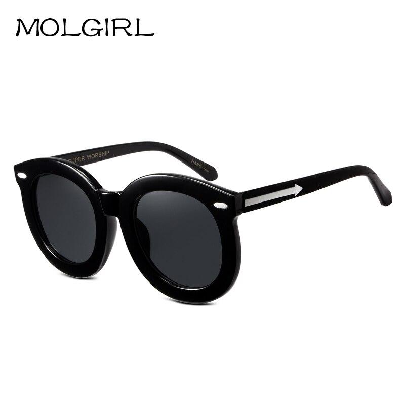 ᗐGrande Marcos mujeres Gafas de sol lente reflectante negro redondo ...