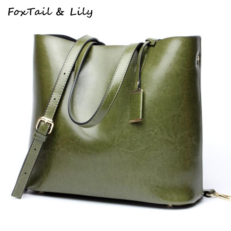 FoxTail & Lily Oil Wax Cowhide Large Capacity Shopping Handbags Women Messenger Bags Genuine Leather Tote Shoulder Bag Female european american women s genuine leather handbags ladies large capacity tote shoulder bag female fashion cowhide shopping purse