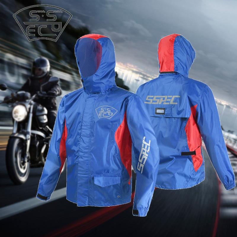SSPEC Men Motorcycle Rider Rain Coat Suit Fishing Jackets Pants Biker Suit Riding Reflective Capa De
