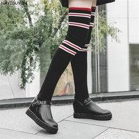 NAYIDUYUN Femmes Noir Stretch Longue Sur Le Genou Bottes Wedge Knit Stocking Cuissardes Sneakers Haute Talon Rivet Greepers Chaussures