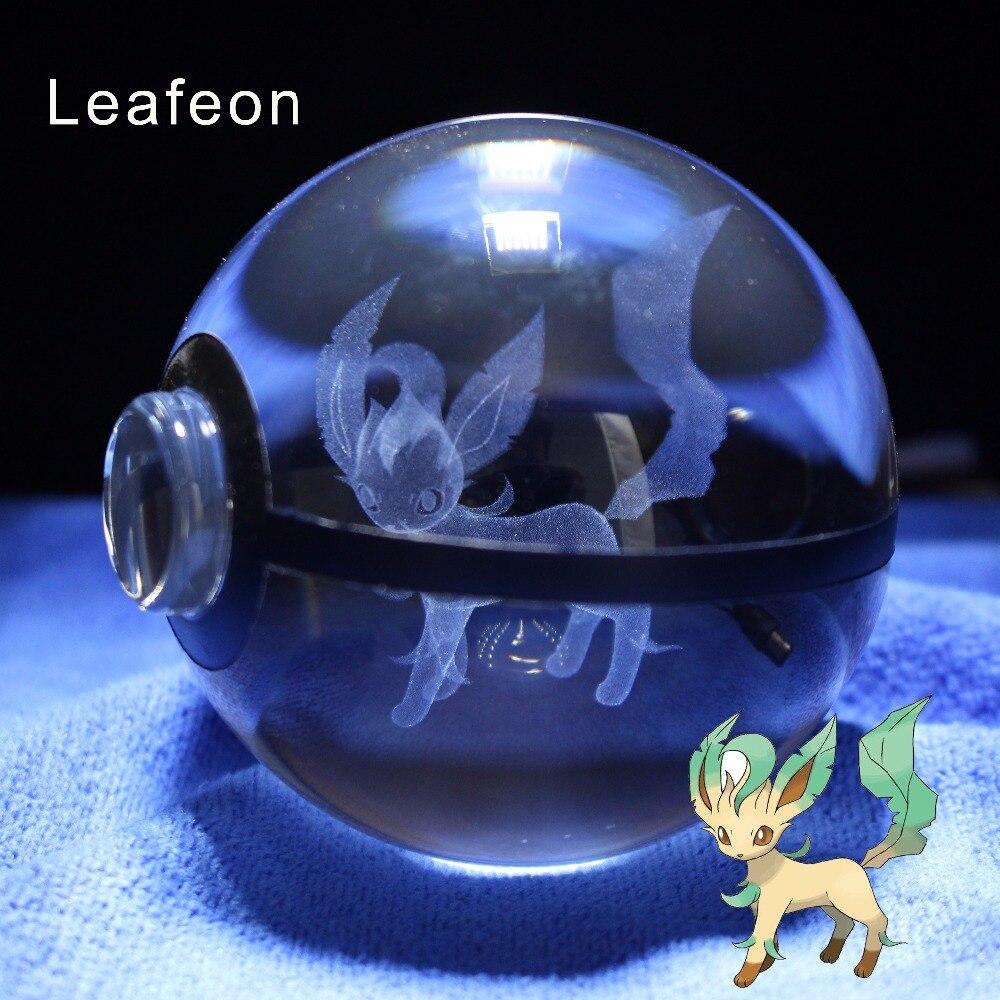 Unique Transparent 3D laser Pokemon Go Game Leafeon Pokeball Kid Night Lamp