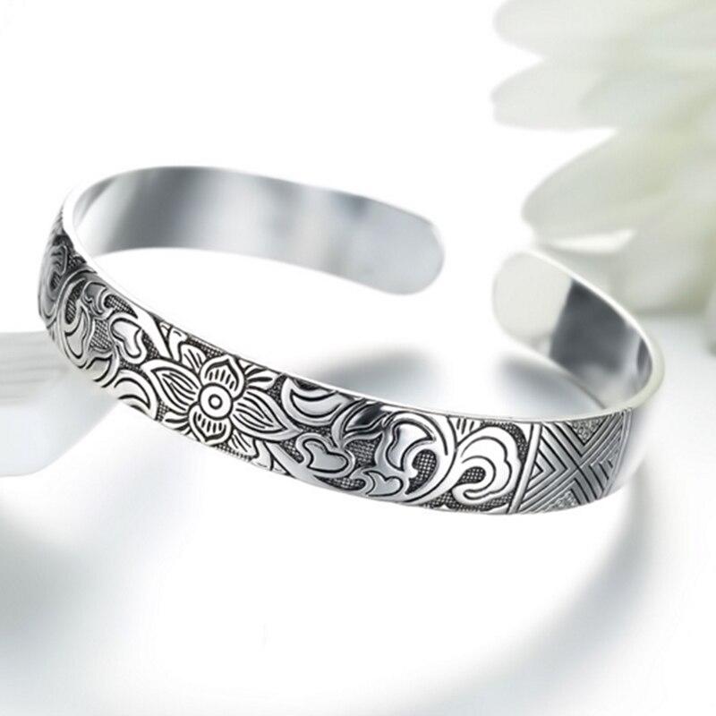 Women's Silver Lotus Bangle Bracelet 1