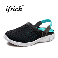 Couples Sandals Black Pink Summer Shoes for Male Lightweight Hole Man Anti-slip Beach Breathable Mesh Flat