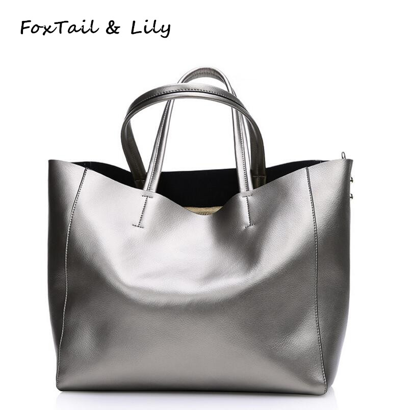 FoxTail & Lily Summer New Women Casual Tote Composite Bag Genuine Leather Shoulder Messenger Bags Large Capacity Shopping Bags