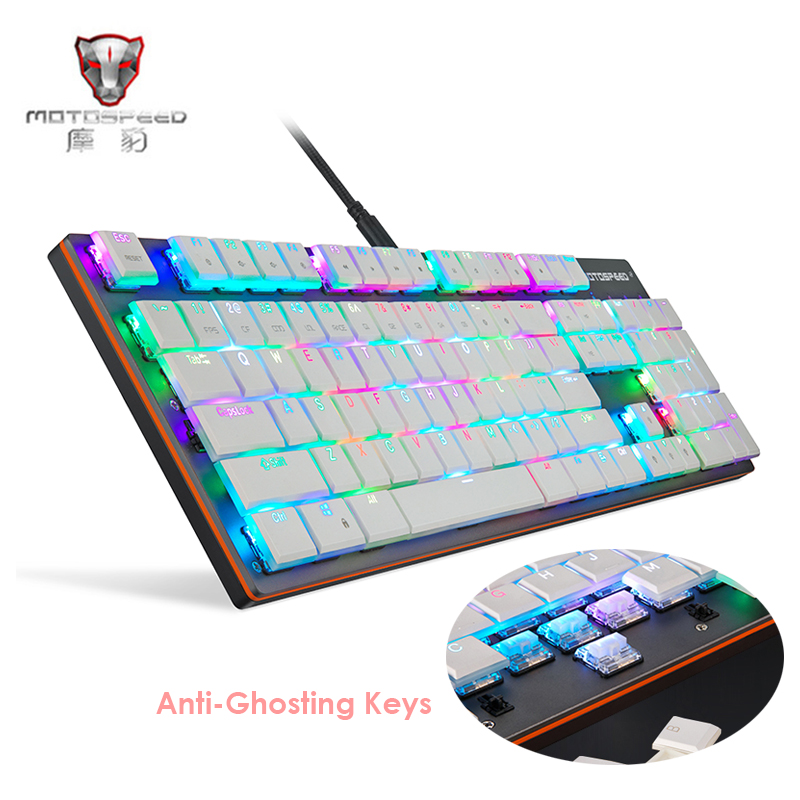 MOTOSPEED CK94 Wired Mechanical Keyboard 104 Keys Kailh BOX Blue Switches Full Keys Anti-ghost Gaming Keyboard for PC Desktop rainbow gaming backlight keyboard 87 keys colorful mechanical keyboard with blue black switches desktop for pc laptop