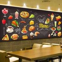 Персонализированные доски граффити изображение еды обои торт магазин кафе гамбургер магазин ресторан фото обои покрытие стен 3D