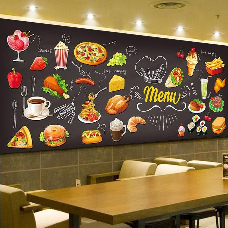 Personalized Blackboard Graffiti Food Mural Wallpaper Cake Shop Cafe Hamburger Shop Restaurant Photo Wallpaper Wall Covering 3D