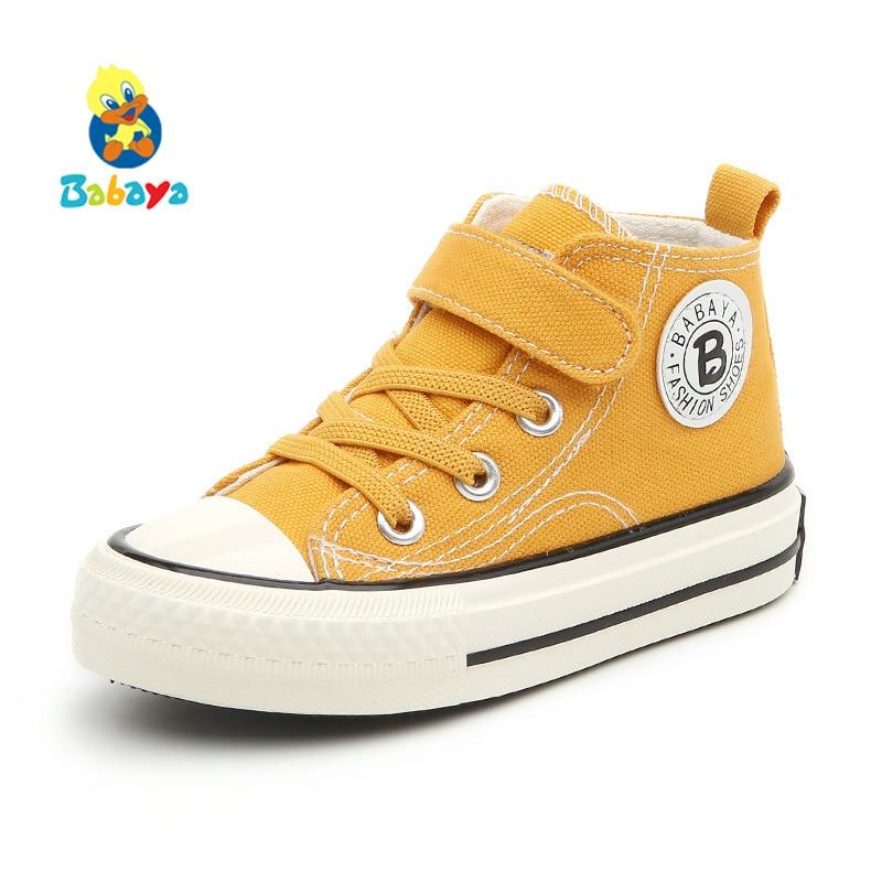 Canvas High Top Sneaker Casual Skate Shoe Boys Girls Banana Monkey Heads