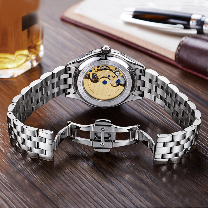 Image 4 - DOM Mens Watches Top Brand Luxury Mechanical Watch Men Stainless Steel Waterproof Sport Wrist Watch Relogio M 815D 7M-in Mechanical Watches from Watches