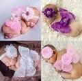 2017 Colorido Bebé Ropa Bebe Ropa de Niña Recién Nacido de la Venda + Ala de la Pluma Set Vendas + Hot Alas Apoyos de La Fotografía