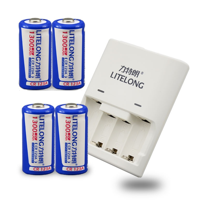 все цены на 4pcs 1300mAh 3v CR123A rechargeable LiFePO4 battery lithium battery + cr123a CR2 battery charger