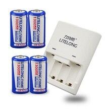 4 unids 1300 mAh 3 v CR123A batería recargable LiFePO4 batería de litio CR2 cr123a cargador de batería