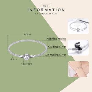 Image 2 - BAMOER Classic 100% 925 Sterling Silver Love Forever Love Snake Chain Bracelets Women Sterling Silver Jewelry 17CM 19CM SCB105
