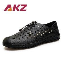 AKZ 남자 캐주얼 신발 2018 새로운 스타일 여름 로퍼 공기 메쉬 통풍 탄성 밴드 부드러운 편안한 남성 신발 크기 38-44