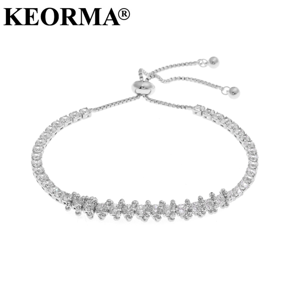 KEORMA Gold/Silver Color Circles Bracelet & Bangles for Woman CZ Zirconia Paved Round Female Adjustable Chain Bracelets Jewlery