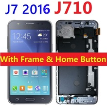 цены на LCD Screen Display Touch Digitizer Sensor Assembly and Frame Home Button For Samsung Galaxy J7 2016 J710F J710FN J710FN/DS J710M  в интернет-магазинах