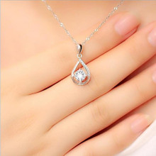 TJP Shiny Female Cubic Zirconia Water-drop Pendant Necklace Jewelry Female Fashion 925 Sterling Silver Necklace For Women Bijou стоимость