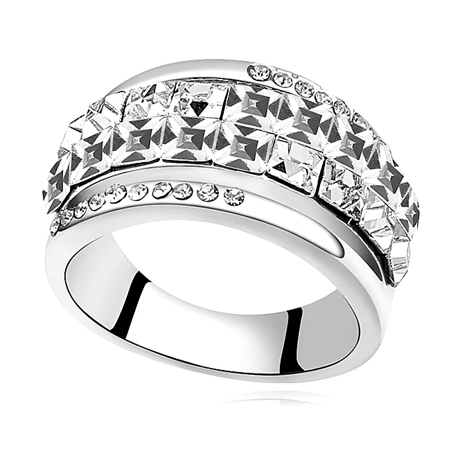 Big Square Crystal From Swarovski Rings White Gold Color Ring Luxury