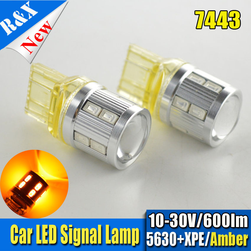 2pcs/Lot High Power T20 7443 White Amber Red Dual-Color Switchback XBD 5630 SMD LED Turn Signal Brake Backup Lights Bulbs
