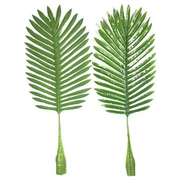 5 Pack Palm Leaves Fake Faux Artificial Plant Leaves Green Single Leaf Palm  for Home Kitchen Party Supplies Tropical Leaves De e3917832417a