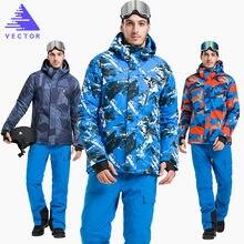 Vector  warm winter ski suit set men windproof waterproof skiing