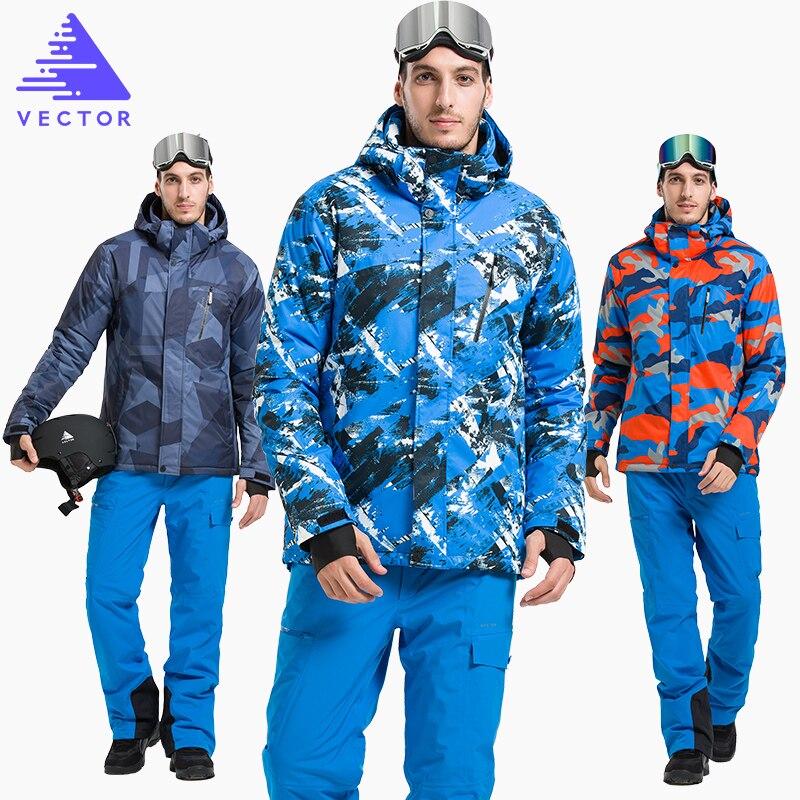 Vectoriel chaud hiver Ski costume ensemble hommes coupe-vent imperméable Ski snowboard costumes ensemble mâle extérieur Ski veste + pantalon marque - 5