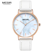 Megir 2019 New Women's Quartz Watches Fashion Leather Strap Simple Analogue Wrist Watch for Lady Relogios Woman 4204 white