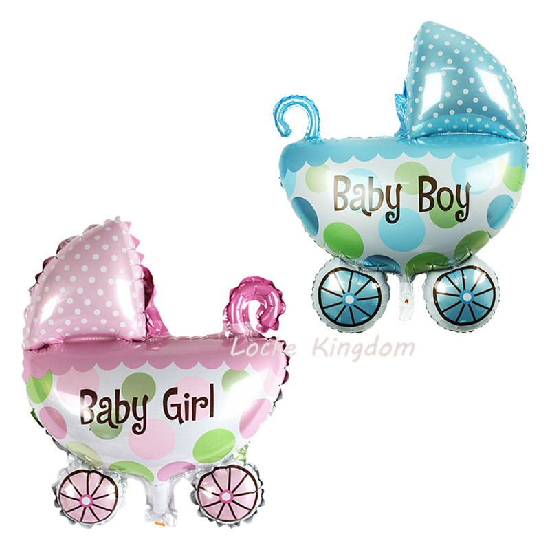 Lucky 50pcs lot Big Size Baby Carriages Car Balloon Baby Shower Foil Air Balloons Birthday Party