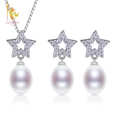 NYMPH Wedding Pearl Jewelry Set Natural Freshwater Pearl Necklace Pendant New Trendy Party Gift For Women Girl Star T230(China)