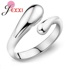 JEXXI Fashion Woman Jewelry Genuine 925 Sterling Silver Smooth Figure Rings Adjustable Factory Price Big Promotion!!(China)
